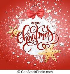 vidám, felirat, háttér, arany-, díszítés, íj, hó, dolgozat, vektor, csillaggal díszít, fényes, karácsony, szalag, hópihe