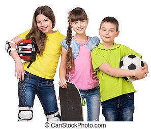 vidám, felszerelés, hatalom kezezés, sport, gyerekek