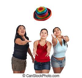 vidám, három, young women
