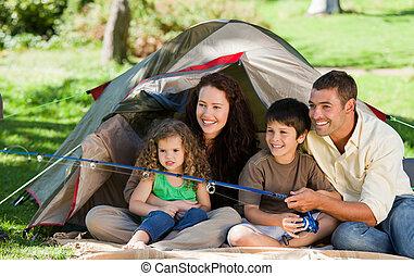 vidám, halászat, család