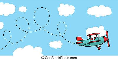 vidám, karikatúra, repülőgép, repülés