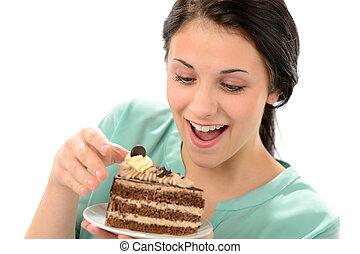 vidám, leány, étkezési, ízletes, munkadarab of torta