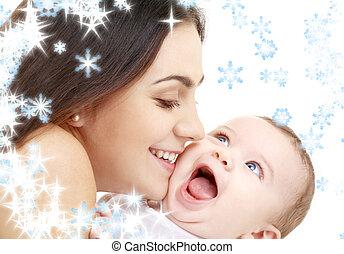 vidám, mama, boldog, csecsemő