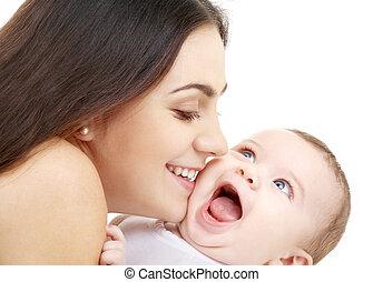 vidám, mama, noha, boldog, csecsemő