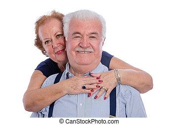 vidám mosolyog, feleség, férj, átkarolás