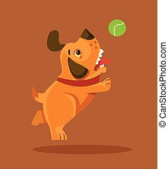 vidám mosolyog, kutyus, kutya, betű, játék, noha, ball., vektor, lakás, karikatúra, ábra