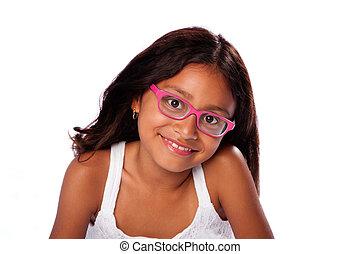 vidám mosolyog, leány, noha, szemüveg