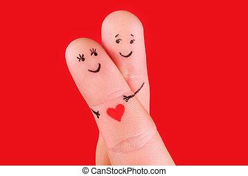 vidám párosít, fogalom, -, egy, ember, és, egy, nő, átkarolás, -ban, ujjak, elszigetelt, képben látható, piros háttér