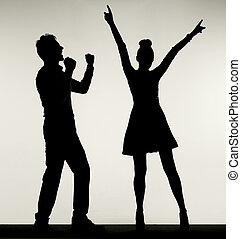 vidám párosít, közben, a, táncol