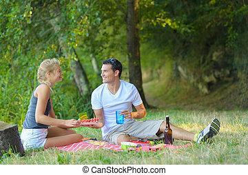 vidám párosít, szerelemben, -ban, egy, piknik