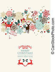 vidám, postai, transzparens, kártya, karácsony