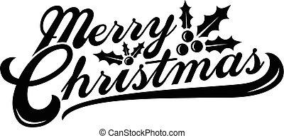vidám, szöveg, karácsony, grafikus, betűtípus