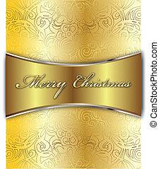 vidám, vektor, karácsonyi üdvözlőlap