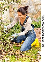 vidám woman, kertészkedés, bokor, udvar, hobbi, térdelés