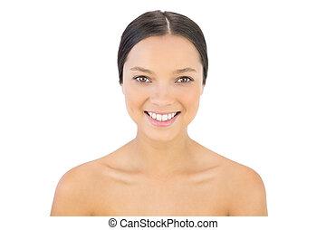 vidám woman, mosolygós, fényképezőgép