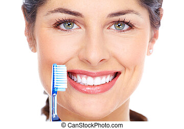 vidám woman, noha, egy, toothbrush., fogászati, care.