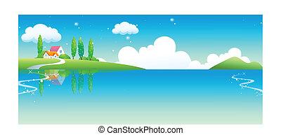 vidéki, épület, tó
