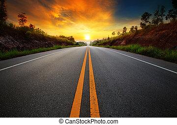 vidéki út, ég, nap, autópályák, felkelés, sce, aszfalt, ...