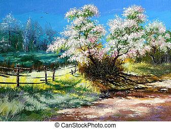 vidéki, bokor, virágzás, surburb