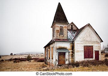 vidéki, elhagyatott, templom
