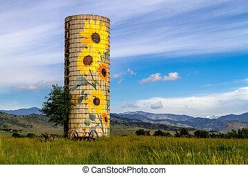vidéki, farm, napraforgó, tanya, siló
