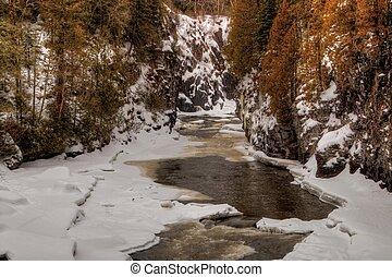 vidéki, ontario, tél, északi, galamb, liget, öböl, dörgés, folyó