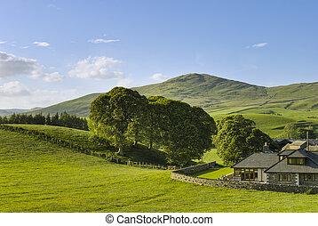 vidéki táj, épület, angol