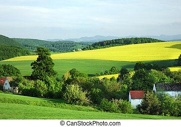 vidéki táj, fényesít, táj