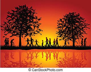 vidéki táj, gyalogló, emberek
