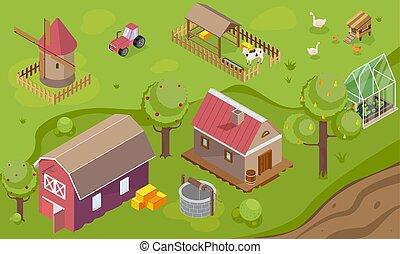 vidéki táj, háttér, isometric