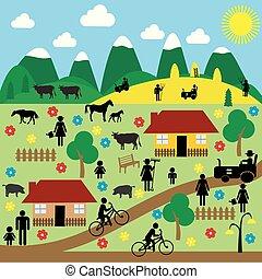 vidéki táj, pictograms, színhely