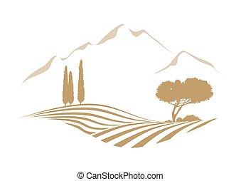vidéki, vektor, táj, noha, hegyek