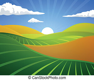 vidéki, vektor, táj