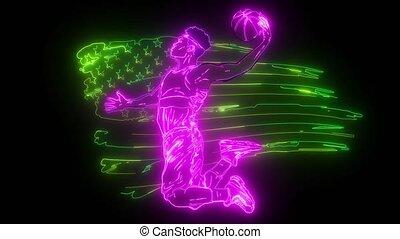 vidéo, américain, sports, joueur basket-ball, art