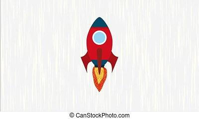 vidéo, animation, icône, conception, fusée