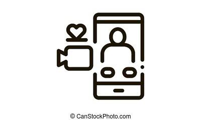 vidéo, appeler, icône, romantique, animation