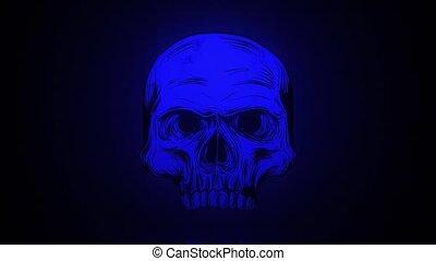 vidéo, arrière-plan noir, crâne