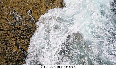 vidéo, atlantique, mer, aérien, nostalgique, rocheux, pacifique, lent, ocean., vagues, facilement, rivages, mouvement, rouleau