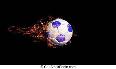 vidéo, balle, boucle, tourner, fond, noir, alpha, football, canal