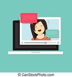 vidéo, bavarder, ligne, sur, informatique, vecteur, illustration, plat, dessin animé, joueur vidéo, fenêtre, à, parler, heureux, girl, bulle, discours, messages, sur, ordinateur portable, concept, de, ligne, bavarder, app, internet, parler, appeler
