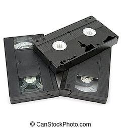 vidéo, blanc, cassette, fond, vhs