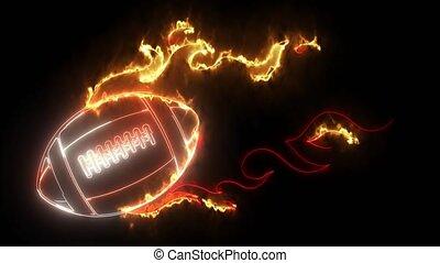 vidéo, boule rapide, numérique, néon, super, rugby