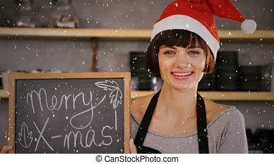 vidéo, chapeau, sur, composition, café, tenue, magasin, salutations, planche, propriétaire, santa, neige, tomber