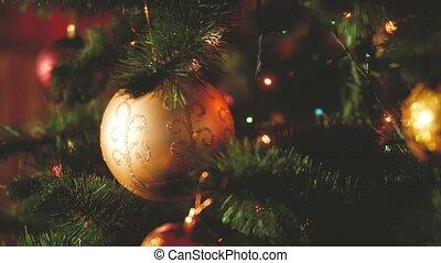 vidéo, christams, lumières, parfait, arbre, fetes, coup, eve., hiver, guirlandes, modifié tonalité, closeup, célébrations, ton, noël, balles, pendre