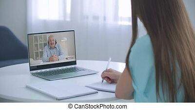 vidéo, communiquer, ligne, prof, apprentissage, maison, ...