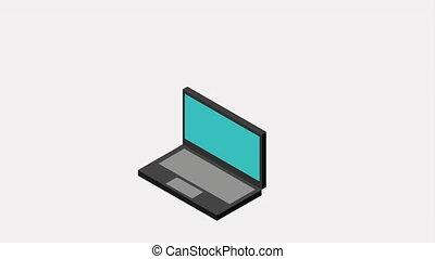 vidéo, conception, icône, animation, ordinateur portable