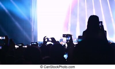 vidéo, concert, ventilateur, photo, prendre, festival.
