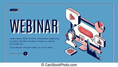 vidéo, conférence ligne, webinar, bannière, séminaire
