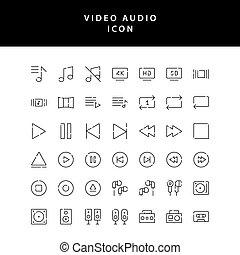 vidéo, contour, icône, vol2, photo, ensemble