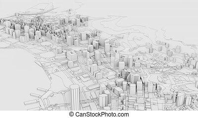 vidéo, contour, ville, illustration, 3d, blanc, model.